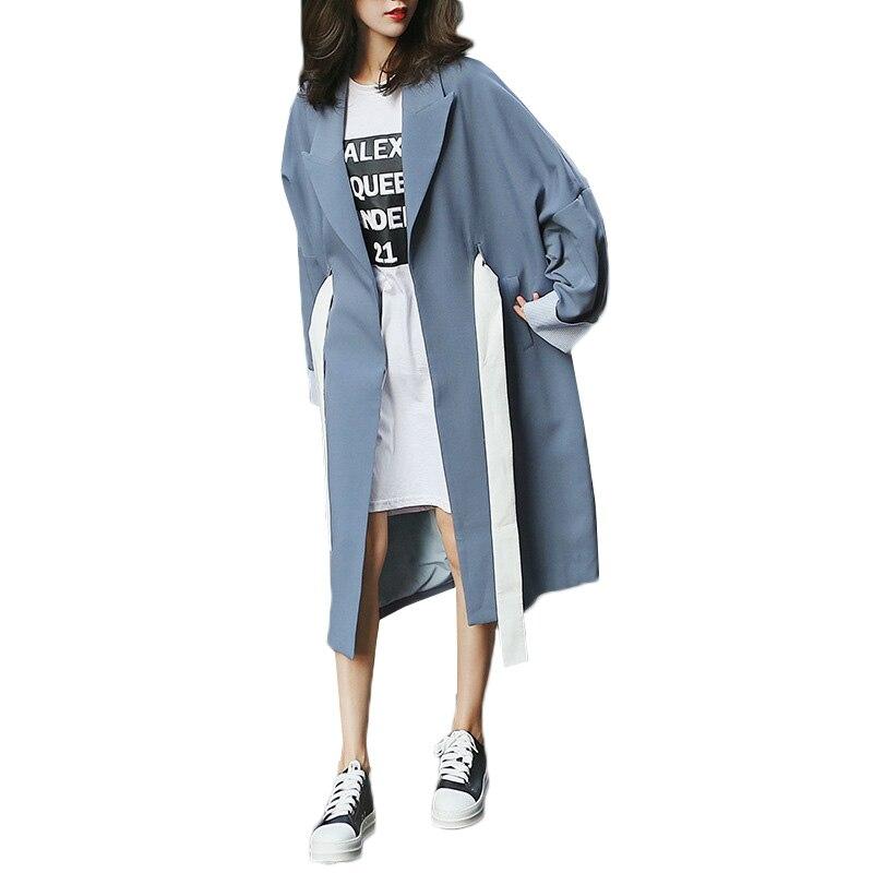 Trench coat female 2018 fashion women coat long windbreaker spring new temperament chic loose coats Female Overcoat Windbreaker