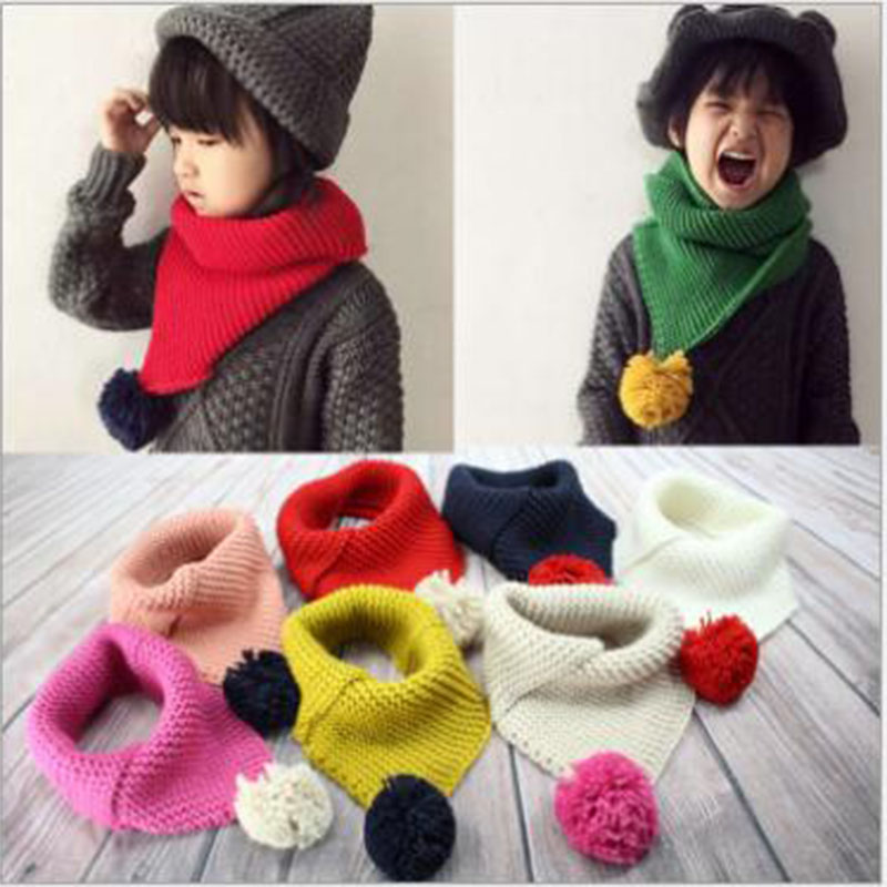 Autumn And Winter Children Scarves New Boys And Girls Korean Wool Scarf Child Hair Ball Warm Scarves Holiday Gifts A476