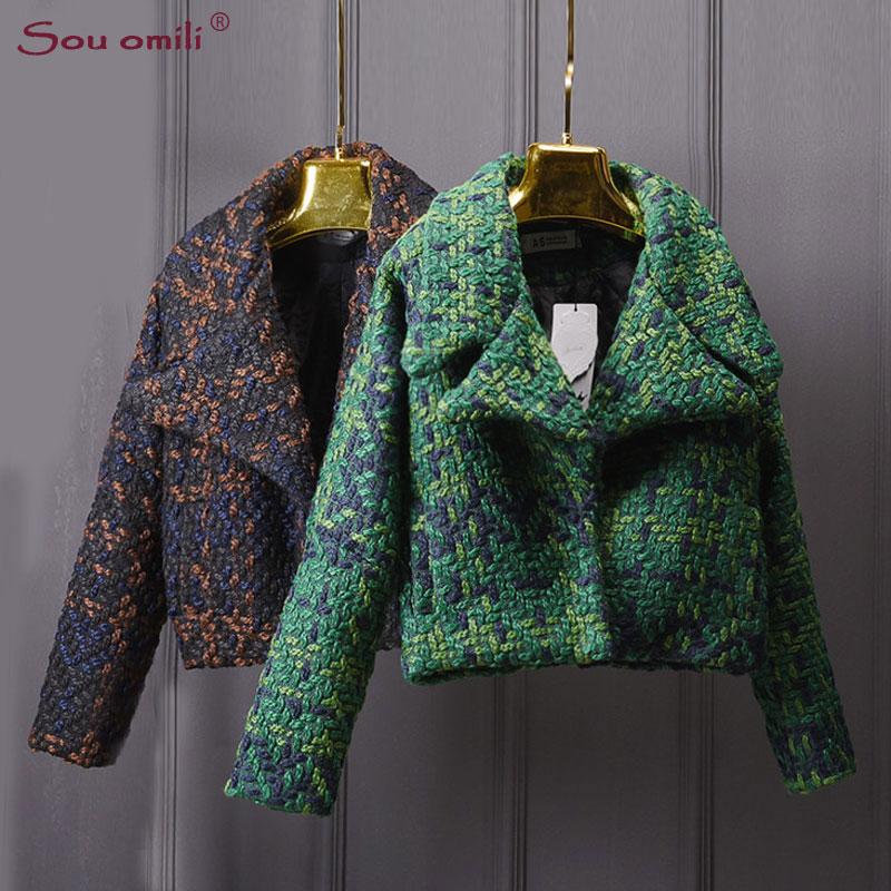 High Quality Wool Coat Women Slim Short Tweed Jacket Fashion Female Outwear Green Coat Brand Women