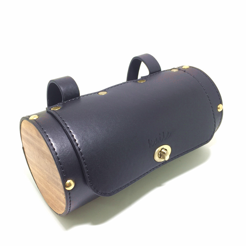 Q398 Free shipping Bicycle retro tail car before the handle bag leather logs round bag Bicycle Bags