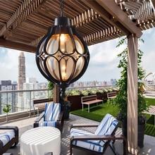 Винтаж открытый балкон стеклянный шар люстры Европейских сортов винограда водонепроницаемый алюминиевый Люстра E27 лампы