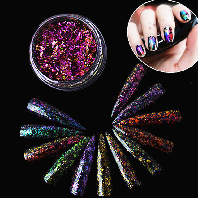 1 Box Sparkly Starry Sky Nail Art Glitter Powder Gorgeous Ultra thin ...
