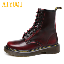 Купить с кэшбэком AIYUQI  D Martin boots female 2019 spring new genuine leather women's booties, Lace white large size 43 44 casual shoes women