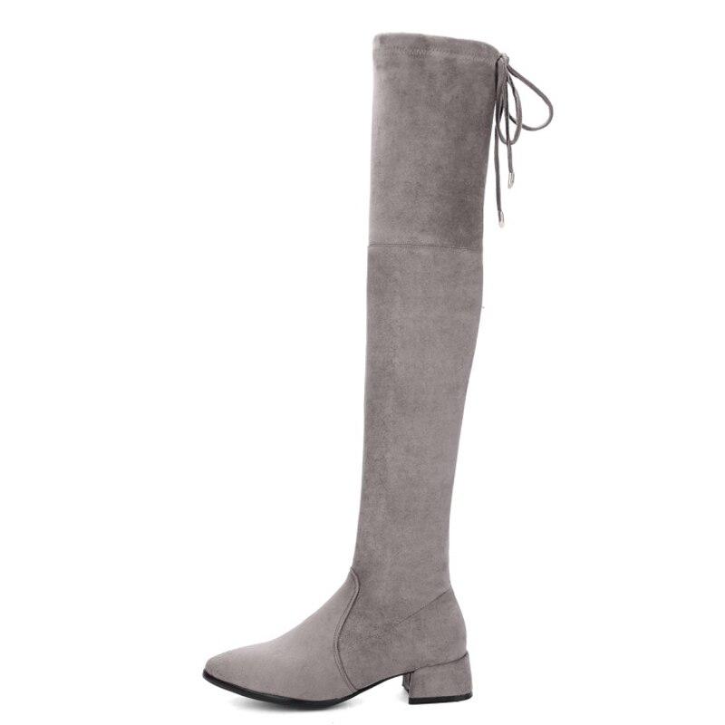 Rodilla gris Más alta 34 Muslo Estiramiento Zapatos Punta La 159 Mujer En Cremallera 43 Del Xianyiduo Ante Sobre Tamaño Micro Negro De qXnZwxTOO1