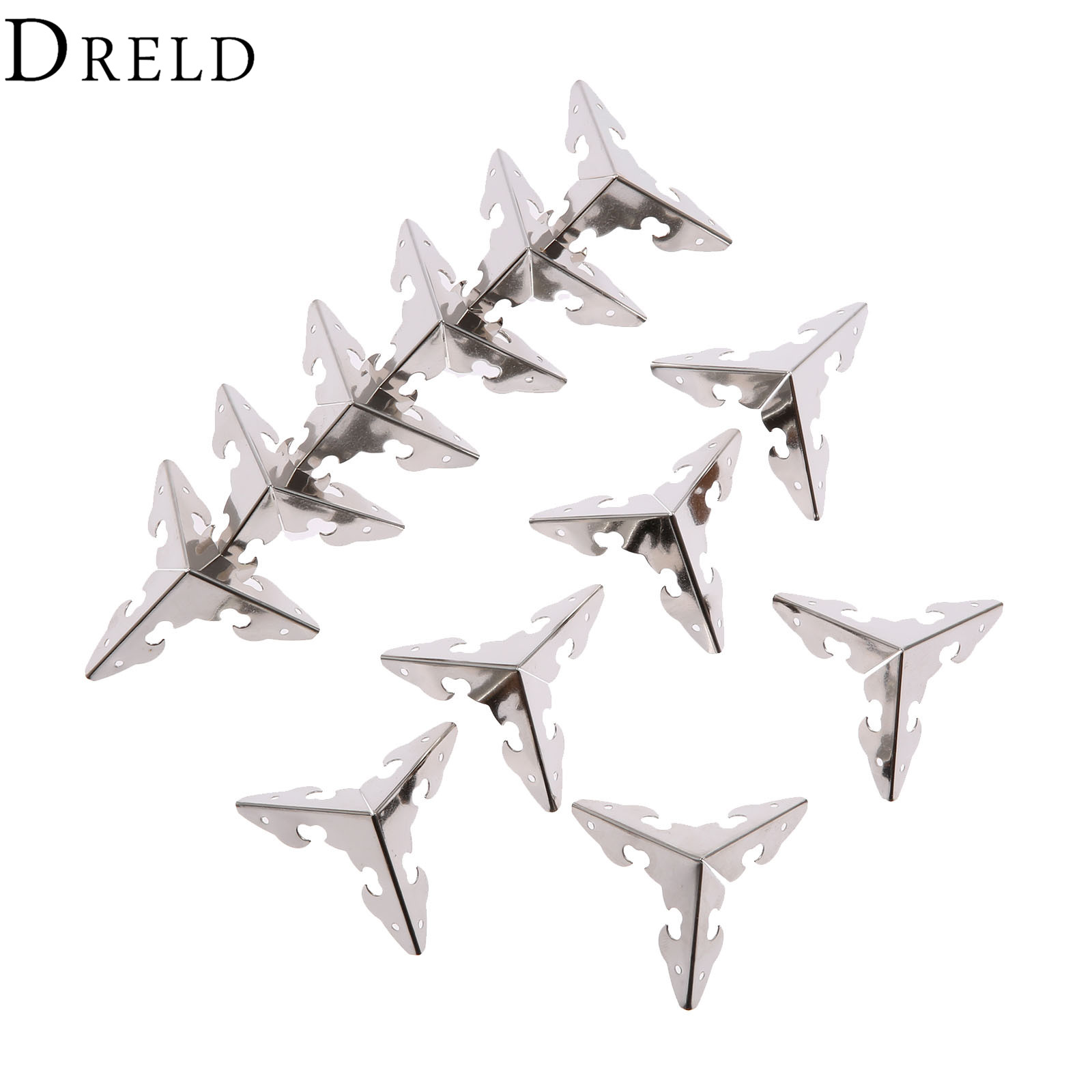 DRELD 12Pcs 30mm Antique Silver Wood Box Feet Leg Corner Protector Guard Metal Crafts Decorative Bracket For Furniture Hardware