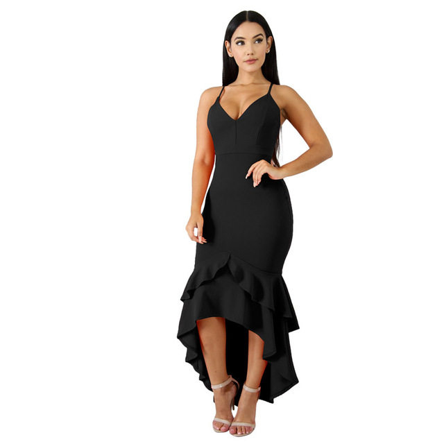 870cc3d5bcc Birthday Dress for Women Stretch Bodycon High Waist Sexy V Neck Spaghetti  Strap Mermaid Trumpet Ankle Length Evening Party Dress