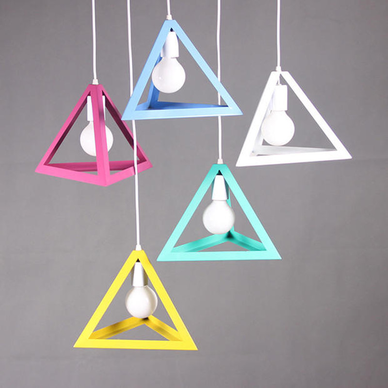 American Modern Minimalist Triangle Pendant Light Led E27 Bulb Color Loft Light Retro Vintage Creative Hanging Lamp modern 3 color adjustable triangle