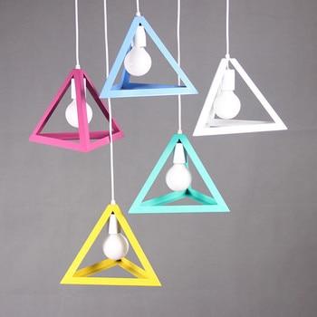 Amerikaanse Moderne Minimalistische Driehoek Hanglamp Led E27 Lamp Kleur Loft Licht Retro Vintage Creatieve Opknoping Lamp