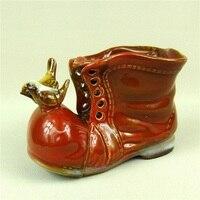 Creative Ceramic Leather Shoe Flower Pot Decorative Porcelain Garden Succulent Planter Room Bird Miniature Ornament Handicraft