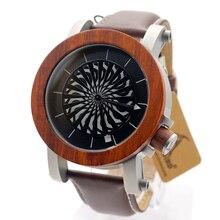 Bobo bird m11 античная кинетического искусства механические часы скелет с черное дерево палисандр базэл водонепроницаемый кожаный ремешок наручные часы