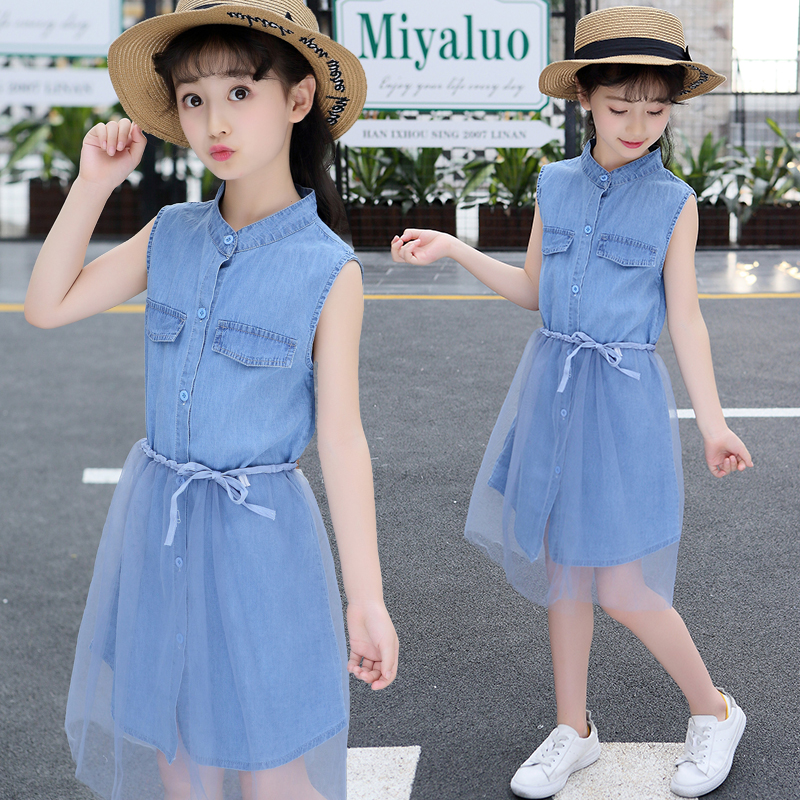 4 <font><b>5</b></font> 6 7 8 9 10 11 Years New 2019 Summer Girls Denim Tutu Tulle Mesh Princess Dress For Kids Girls Korean Cowboy Dress Clothes 49 image