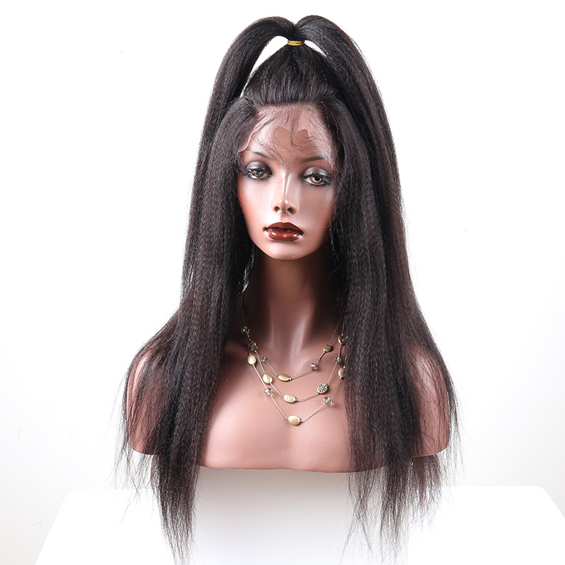 LUFFYHAIR Yaki Straight Human Hair Lace Wigs With Baby Hair Around Peruvian Remy Hair Lace Front Wigs For Black Women