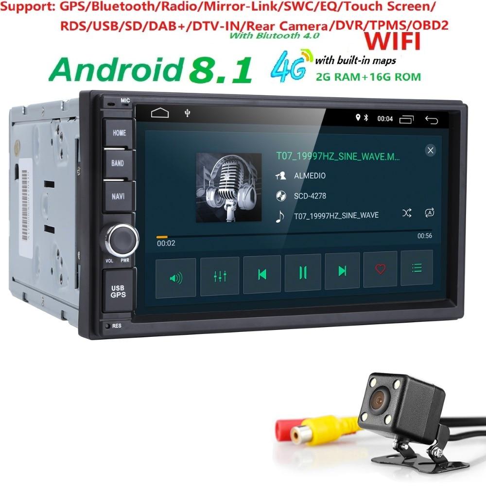 WiFi/4g Quad core 2 din 7 pouce android 8.1 Universel Lecteur De Voiture juke qashqai almera x trail note X-TRAIL pour Nissan GPS intégré