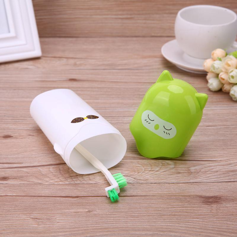 Cute Cartoon Modeling Toothbrush Cup Travel Portable Toothbrush Toothpaste Case Holder Bathroom Storage Accessories