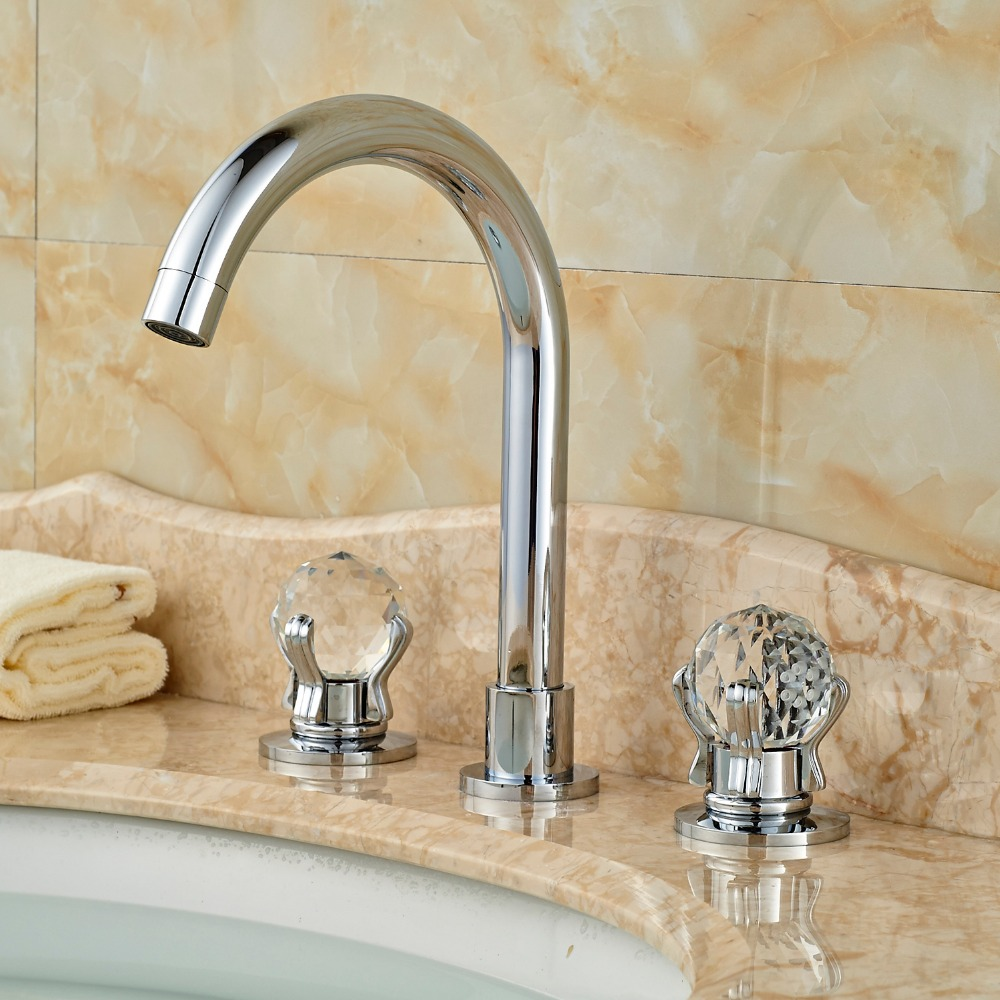 Deck Mounted Chorme Polish Brass Basin Faucet Vessel Sink Tap Hot&Cold Faucet Double Crystal Handles luxury deck mounted golden polish batub faucet double handles swan spout hot