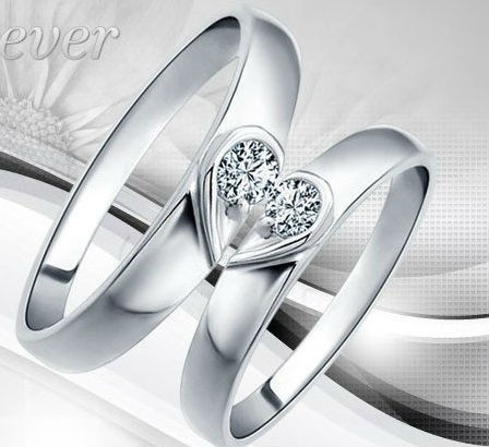Valentineu0027s Day Silver Plated Copule Wedding Rings For Men And Women 2016  Heart Crystal Wholesale Engagement