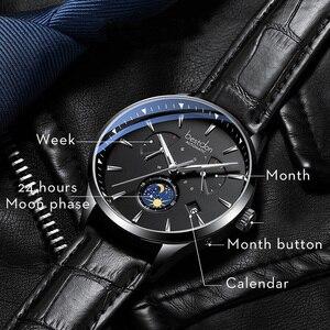 Image 3 - Bestdon montre mécanique automatique, bracelet, marque de luxe, suisse, montre bracelet, en cuir bleu, Phase de lune, pour hommes, 2019