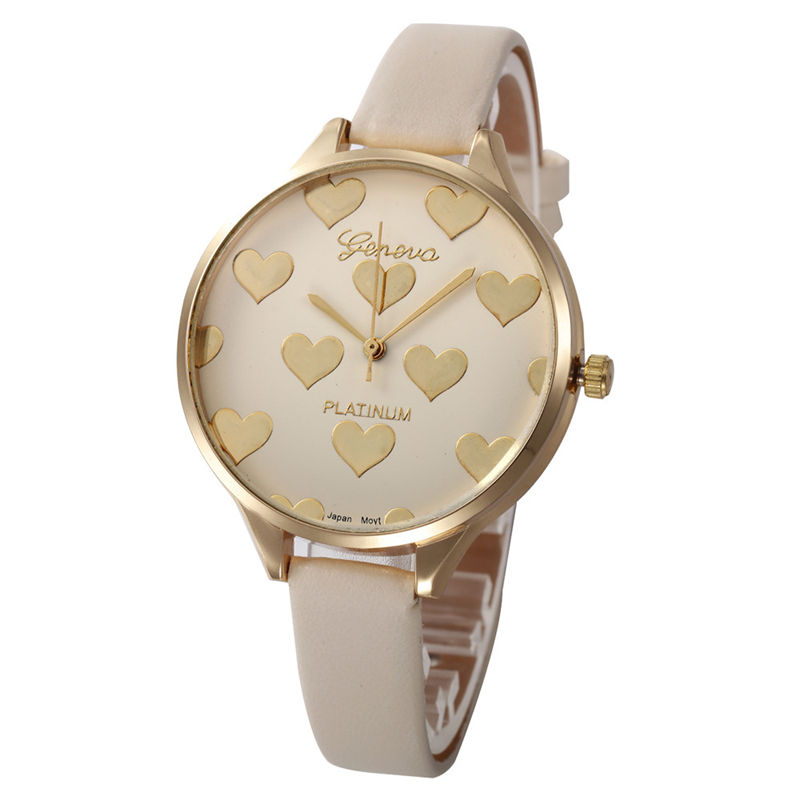 relojes mujer 2017 Watch Women Female Hour Fashion Heart Pattern Women Watches PU Leather Quartz Watch Montre Femme Ladies Watch tezer ladies fashion quartz watch women leather casual dress watches rose gold crystal relojes mujer montre femme ab2004