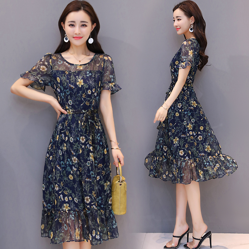 Clearance Sale Plus Size Women's Clothing O neck Short Sleeves Floral Printed Women's Chiffon Dress, A186, Free Shipping