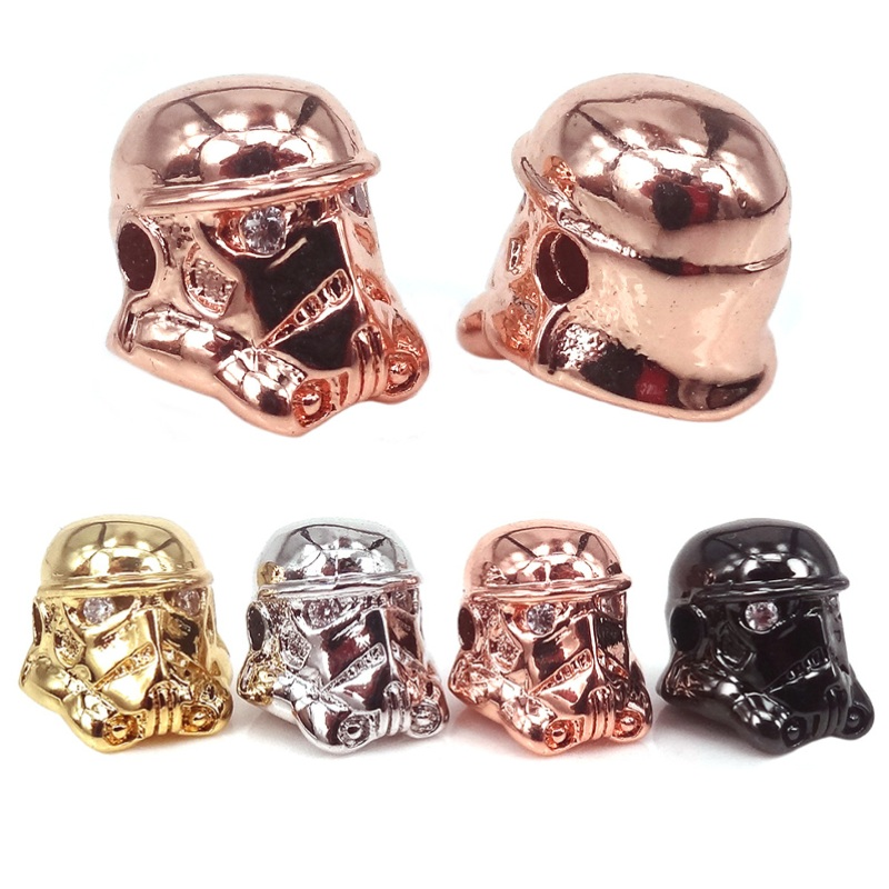 Star Wars Craft Crystal Beads Micro Pave Cz Stormtrooper Beads For Jewelry Diy Men Bracelet Making Spacer Metal Beads,10pcs Beads