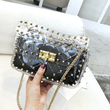 Rivet transparent bag female 2018 new tide shoulder slung jelly package fashion wild rhombic portable chain