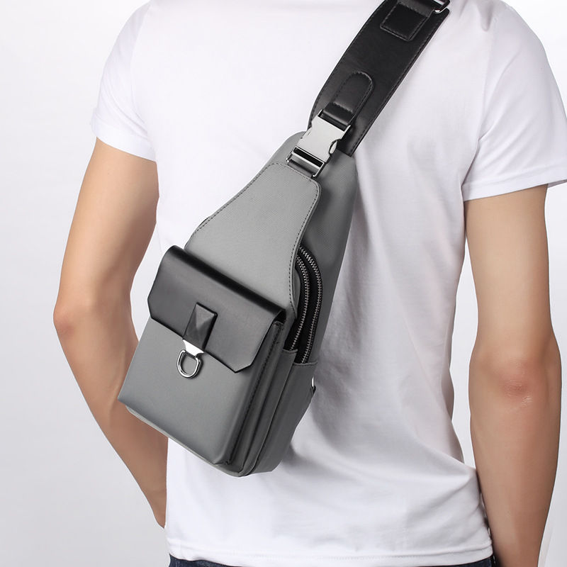 Fashion Oxford Sling Chest Bag Men USB Charging Casual Shoulder Travel Bag Crossbody Single Anti Theft