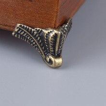 4 шт., античный Угловой протектор, бронзовая коробка для ювелирных изделий, Деревянный чехол, Декоративные ножки, металлический угловой кронштейн, фурнитура