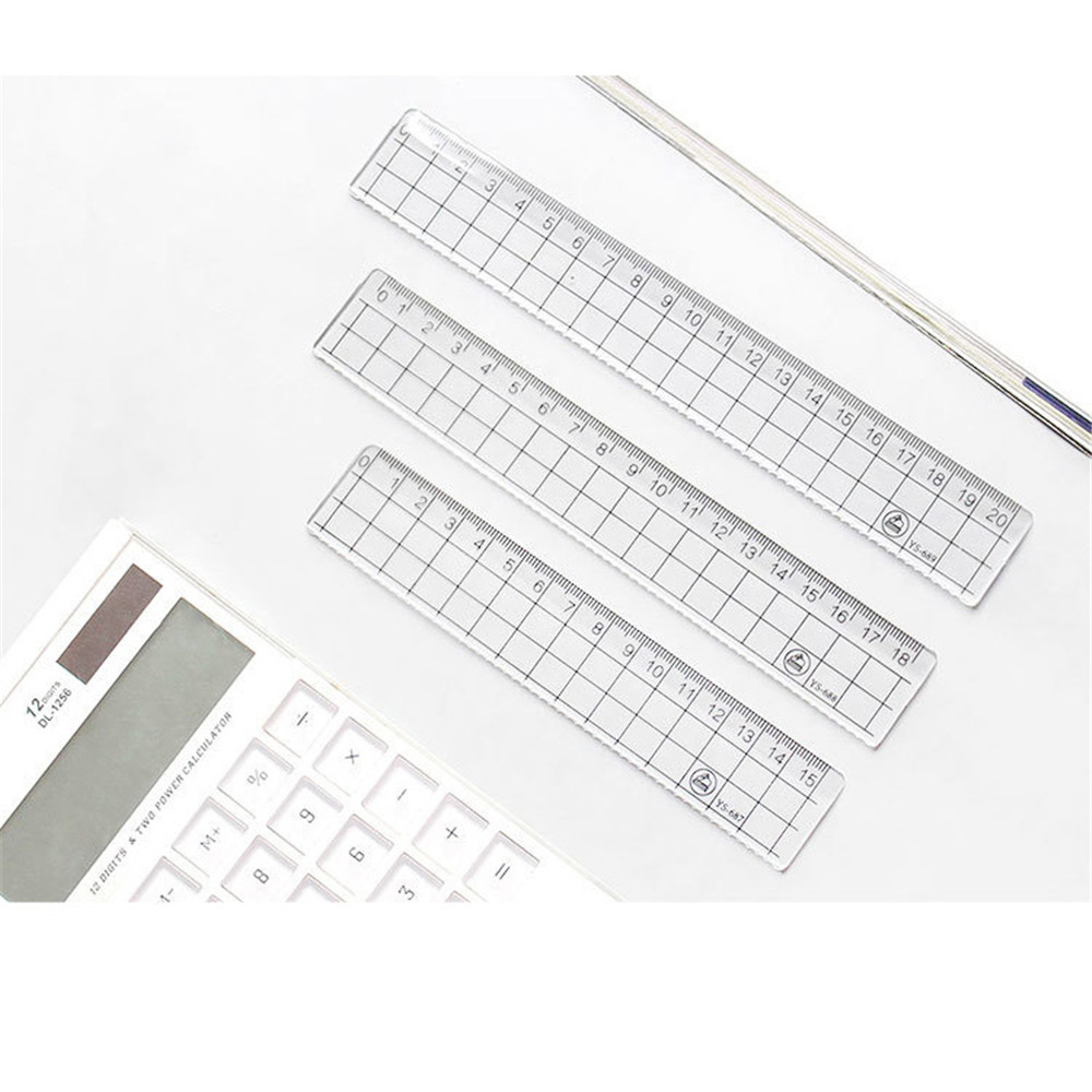 15cm/18cm/20cm Different Lengt Transparent Simple Ruler Acrylic Rulers Learning Stationery Drawing School Office Supplies