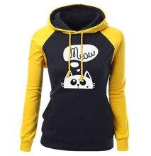 цены trend woman casual cartoon cat hooded sweatshirt spring new long sleeve pullover hooded female color block hoodies