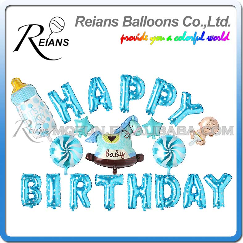 Reians Cartoon Blue New Born Baby Trojan kids HAPPY BIRTHDAY Party Decoration Letter Number Helium Aluminum Foil Balloons Set