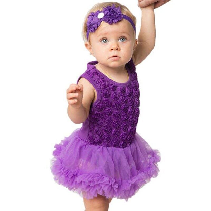 Rose Floral Baby Romper Girls Dresses Lace Cake Smash Tutu -2079