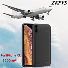 ZKFYS 6200mAh Portable Fast Charger Battery Case For iPhone XR Ultra Thin Back Clip