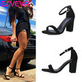 ESVEVA  2017 concise Summer Peep Toe sandals square High Heel Sandals Genuine Leather Shoes Woman black Wedding Shoes Size 34-39