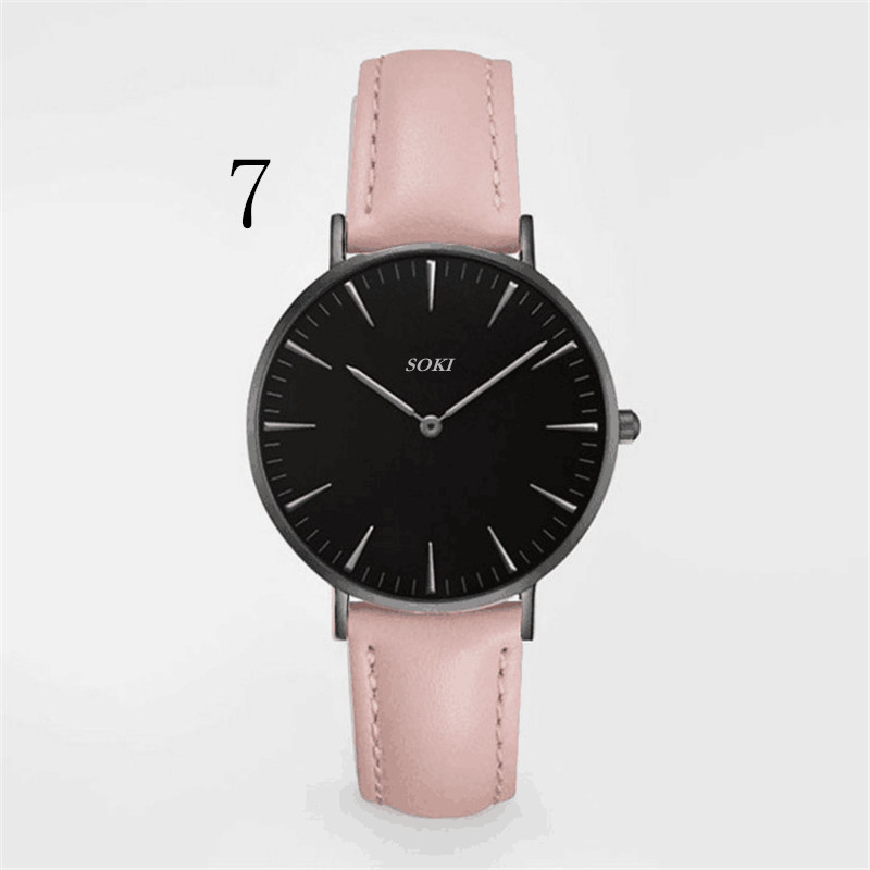 SOKI Women Fashion Brand Watches Quarzt Men Casual Wristwatches Leather Strap Clocks For Male