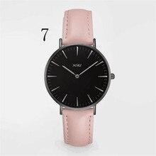 Soki mujeres de la marca de moda relojes quarzt hombres correa de cuero relojes casual relojes para hombre