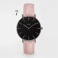 SOKI Women Fashion Brand Watches Quarzt Men Casual Wristwatches Leather Strap Clocks For Male