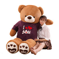 80cm/100cm Big Teddy Bear Plush Toys Stuffed Animals Plush Bear dressed in clothes Lovers Toys Valentine Gifts Kids Girls Toy