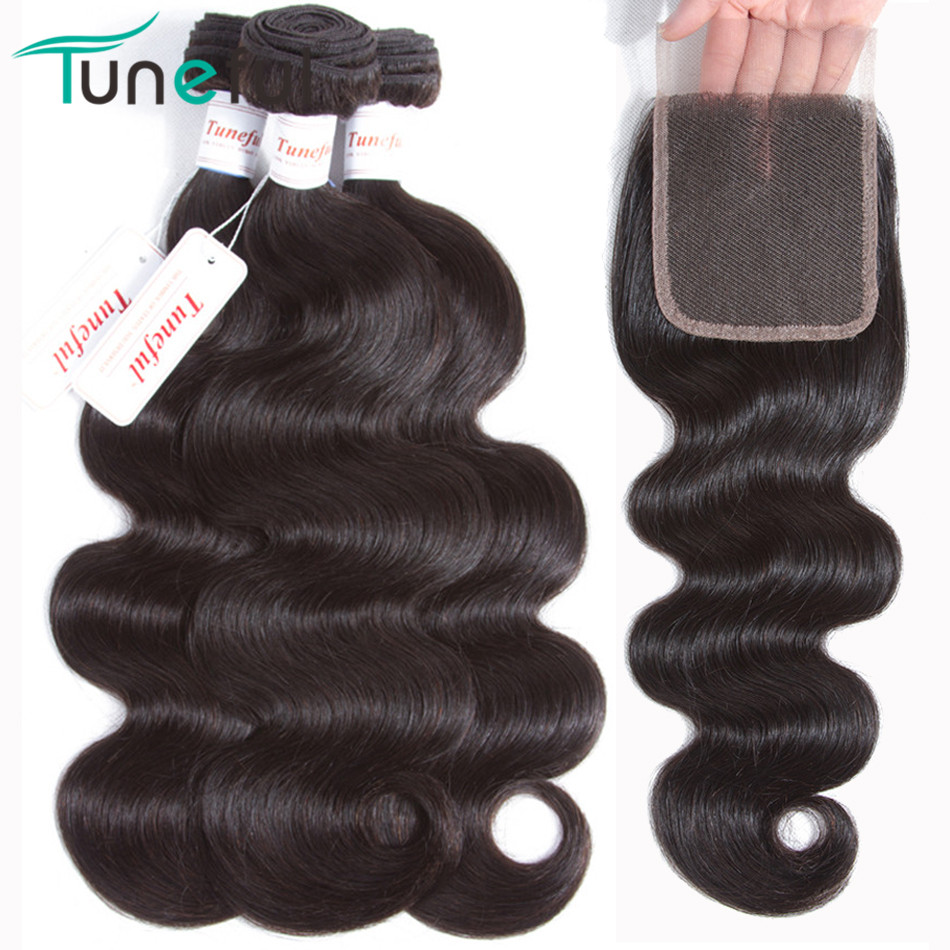 Body Wave Bundles With Closure Tuneful 100% Non Remy Peruvian Human Hair Weft Weaves Bundle Natural Color 3 Bundles With Closure