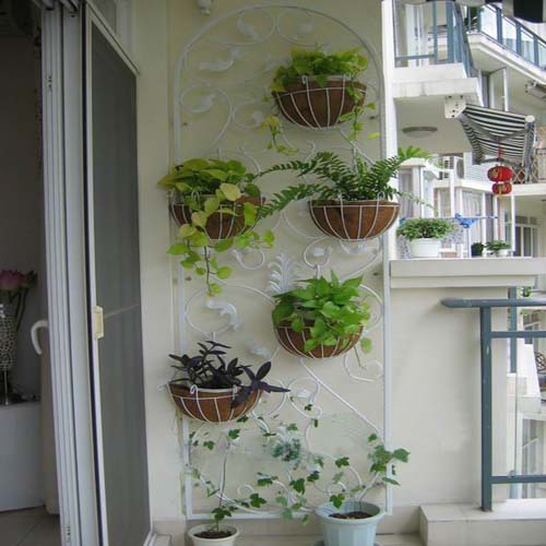 Arts Longou Showy Style Wrought Iron Balcony Wall Indoor Flower Garden Plant Stand Hanging