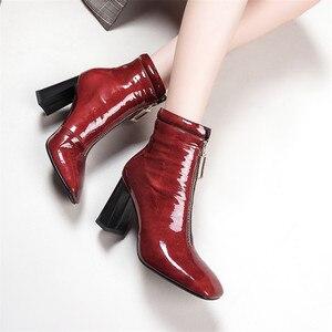 Image 4 - FEDONAS 브랜드 암소 가죽 발목 부츠 여성용 하이힐 지퍼 짧은 숙녀 신발 여성 스퀘어 발가락 파티 웨딩 펌프