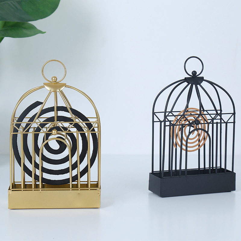 Nordic Style 3D Birdcage Shape Gold Iron Art Incense Stick Burner Aromatherapy Plate Candle Coil Home Decor Censer Z286