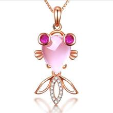 TJP Charm Crystal Fish Pendant Necklace For Women Jewelry New Fashion Silver 925 Box Chain Choker Girls Accessories