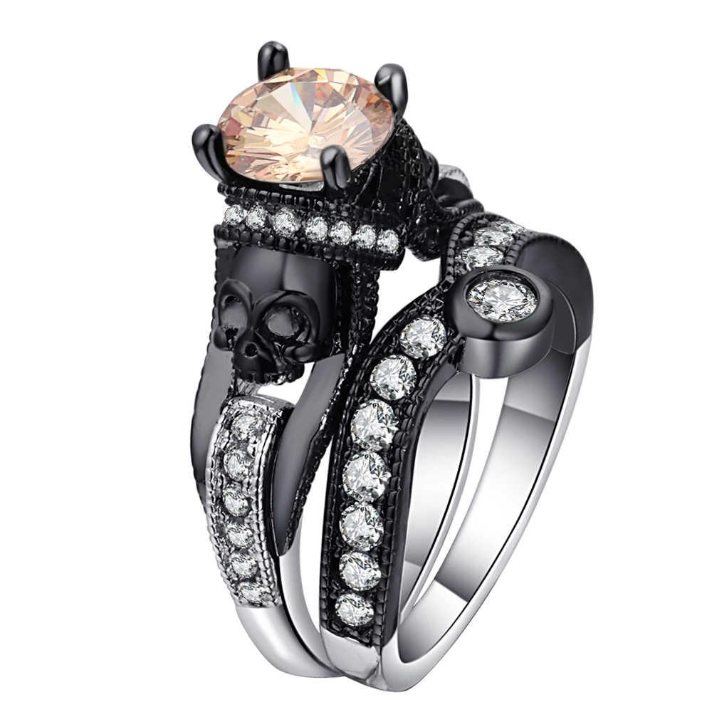 Black Skull 2 Pcs Ring Sets Silver Color Fashion Wedding