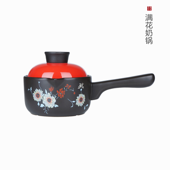 Pottery home gas baby food mini pan small soup porridge single handle milk boiled ceramic hot stew pot casserole saucepan
