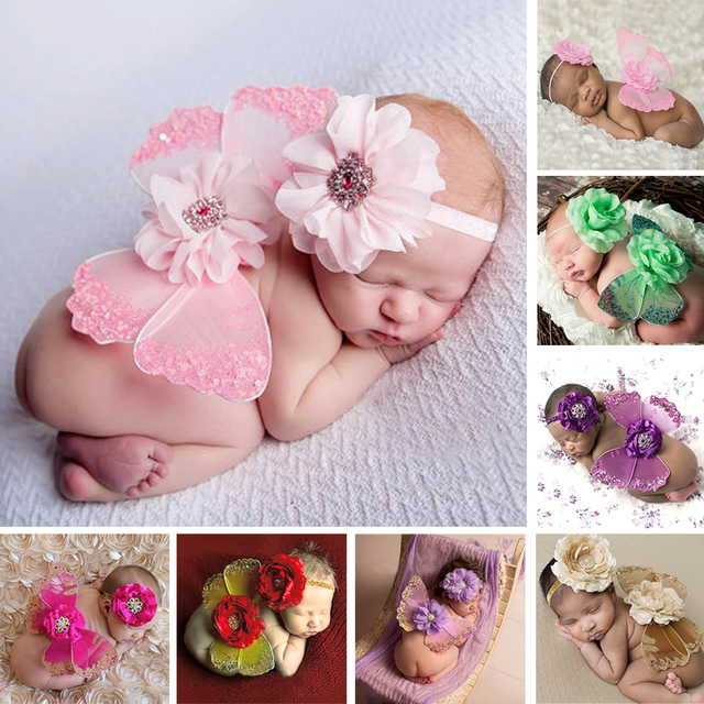 Lovely newborn baby photography props infant girls flower headband wing 2pcs outfit set costume prop