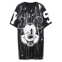 2017 Punk Street Sequins Beading Cartoon Print Women T Shirts Plus Size Women Summer T Shirts