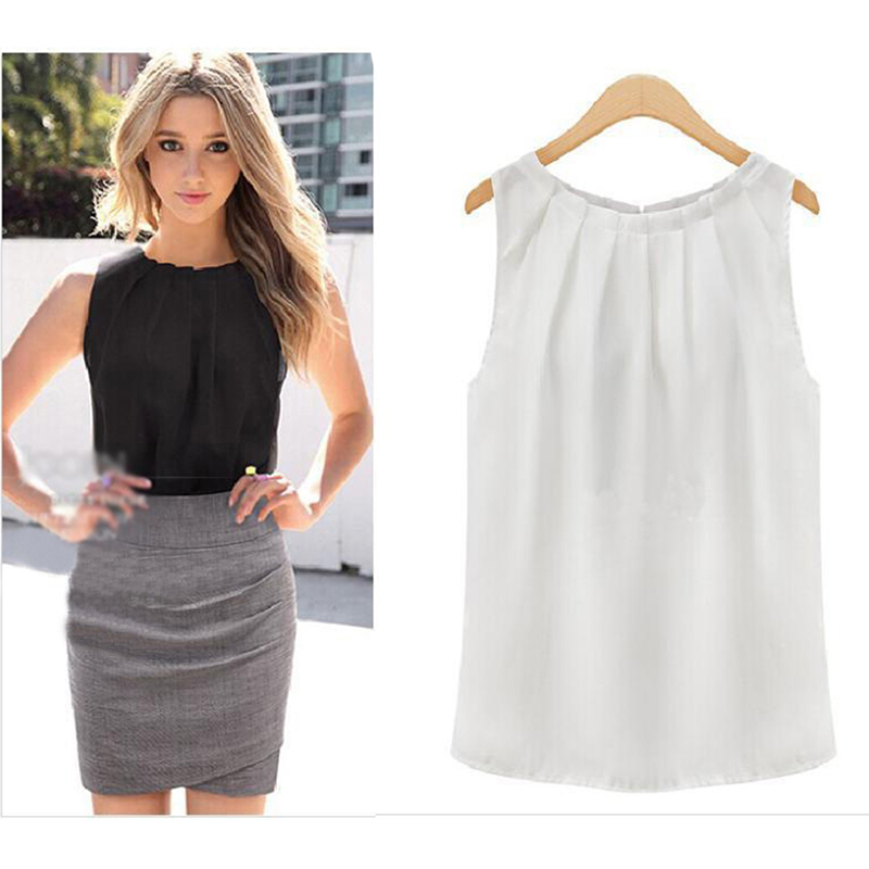 New   Tank     Tops   Women Loose Casual Chiffon Solid Sleeveless Vest All-match Sexy Basic O-neck   Tops   For Women Female Clothing