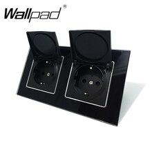 Wallpad שחור קריסטל זכוכית פנל 110V 250V כפול אבק כובע האיחוד האירופי אירופאי Schuko קיר שקע עם טפרים קליפים שקע עם כובע