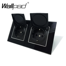 Wallpad Black Crystal Glass Panel 110V 250V Double Dust Cap EU European Schuko Wall Socket with Claws Clips Socket with Cap