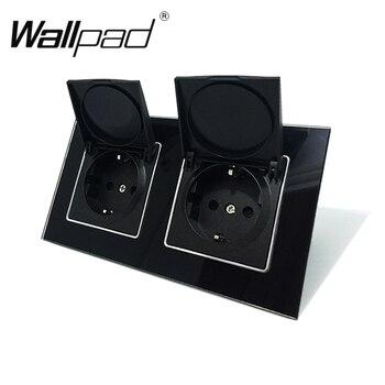 Wallpad negro Panel de vidrio de cristal de 110V-250V doble tapa de la UE Schuko europeo enchufe de pared con Clips de garras con tapa